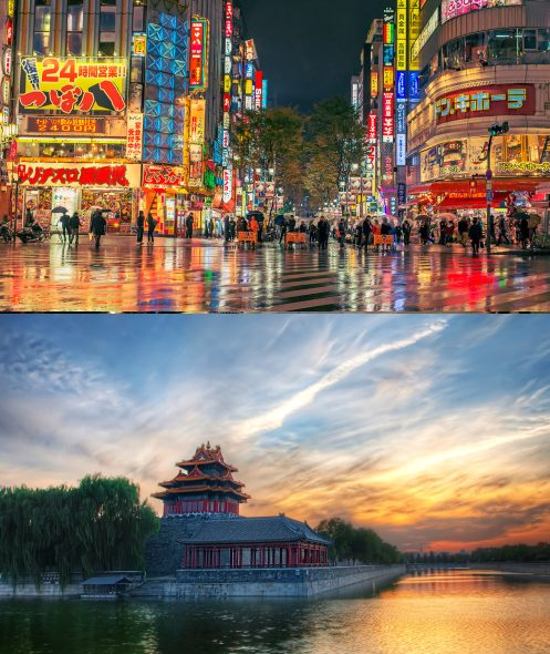 Tokyo, Japan and Beijing, China